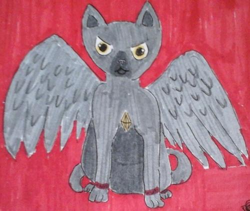 Ce dessin est un espèce de chat ange bizarre