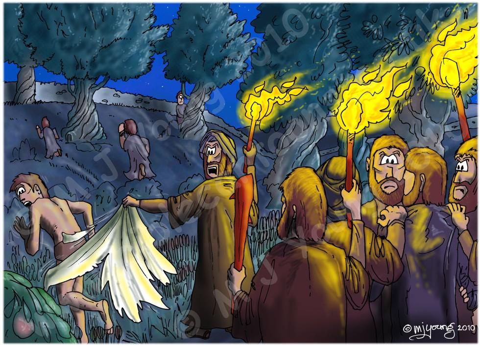Mark 14 - Jesus Arrested - Scene 03 - Disciples scatter