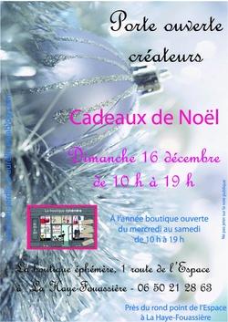 PORTE OUVERTE LE DIMANCHE 16 DECEMBRE 2012