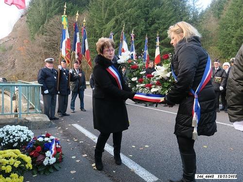 """* Cérémonie du 74ème anniversaire de la Libération et hommage au Général Diégo Brosset"""", devant la stèle au lieu-dit """"Passavant""""."""