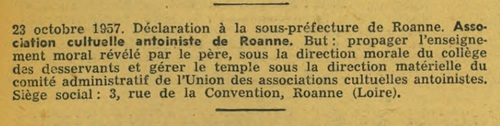 Roanne - Déclaration d'association - Culte Antoiniste (Journal Officiel, 17 Novembre 1957)
