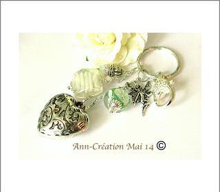 Au choix : Bijoux de Sac Coeur Verre Filé Lampwork, Cristal / Métal argenté