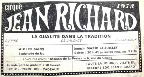 la venue du cirque Jean Richard à Aix les Bains et Chambery en  1973 dans la presse