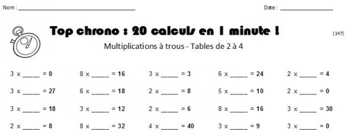 Défi multiplications à trous