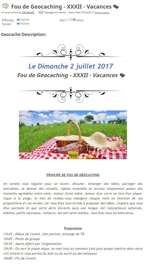 2 juillet 2017 - Fou de Geocaching - XXXII - Vacances  </div><div class=