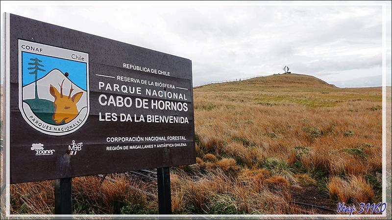 A 7 heures, nous débarquons au point presque le plus au sud du continent américain (le cap lui-même étant à quelques centaines de mètres plus au sud) : l'île du Cap Horn - Chili