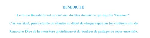 Le Bénédicité