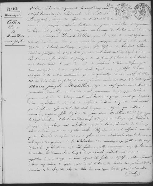 acte de mariage des parents de la Mère en 1840