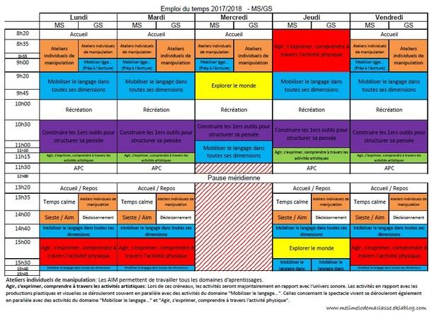 Emploi du temps Ms/Gs, 2017/2018, organisation