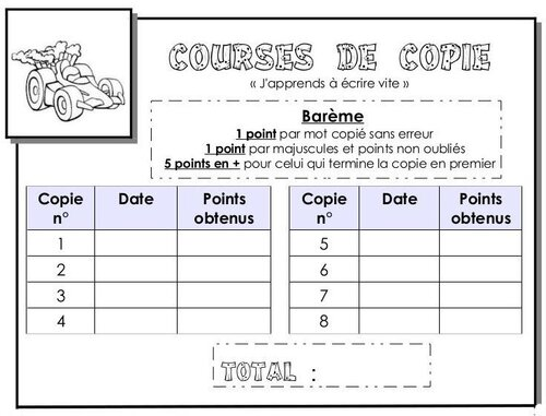 Courses de copie