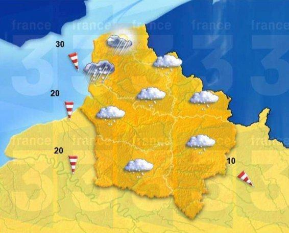Carte Météo France pour lundi 6 mars.