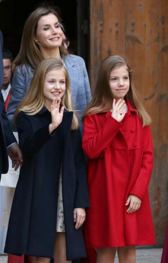 La famille royale d'Espagne à Palma, le 16 avril