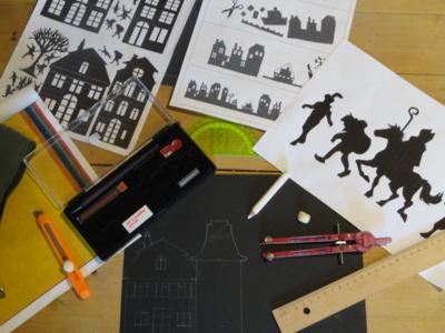 Blog de melimelodesptitsblanpain : Méli Mélo des p'tits Blanpain!, Décor de fenêtre pour Saint-Nicolas: silhouettes et maisons vitrail!