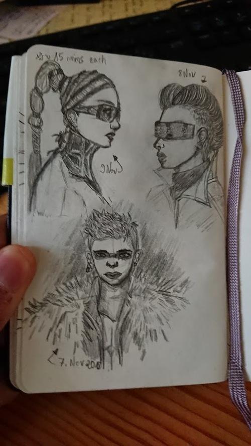 Croquis coiffures, cyberpunk/goth etc ...