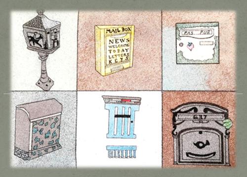 Boites à lettres en sable coloré