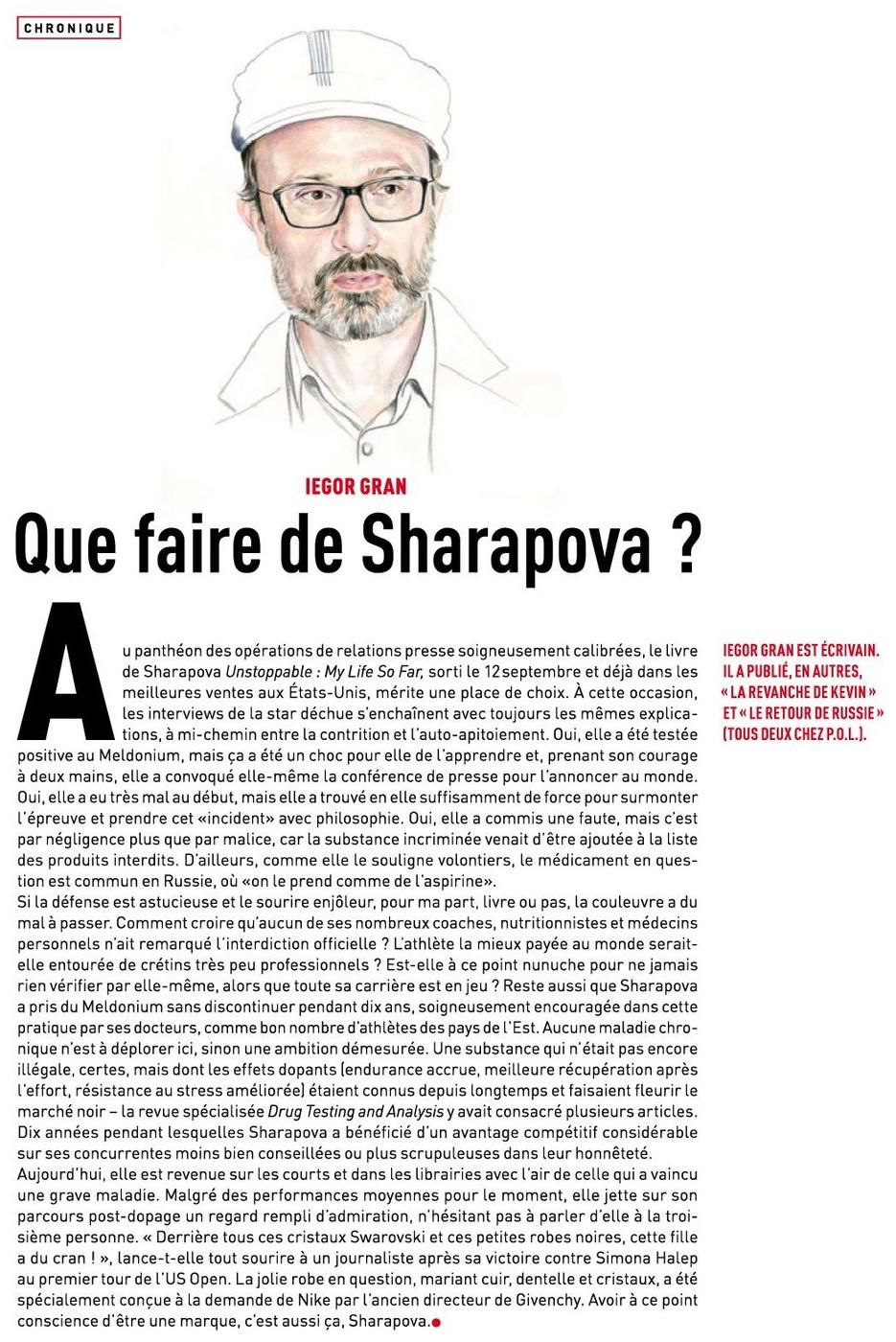 Que faire de Sharapova?