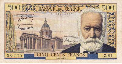 LE BILLET 500 FRS VICTOR HUGO