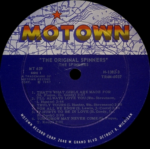 """The Spinners : Album """" The Original Spinners """" Motown Records MS 639 [ US ]"""