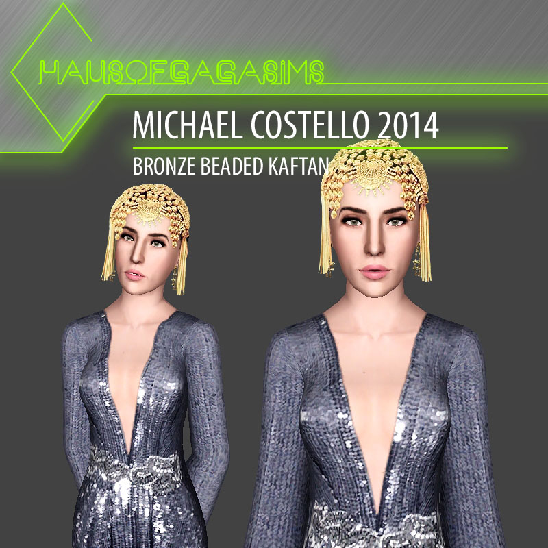 MICHAEL COSTELLO 2014 BRONZE BEADED KAFTAN