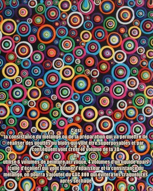 """Dessin et peinture - vidéo 3363 : Comment préparer la peinture fluide en 3D pour la formation de """"blobs"""" ? - peinture abstraite."""