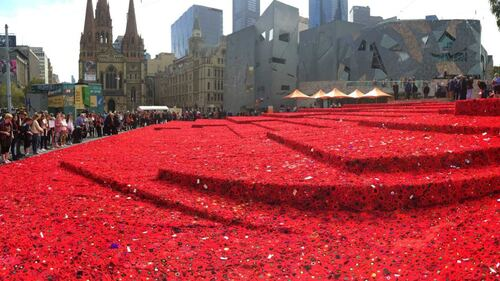 The sea of red poppies in Melbourne's CBD (Federation square)
