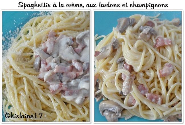 Spaghettis à la crème, aux lardons et champignons