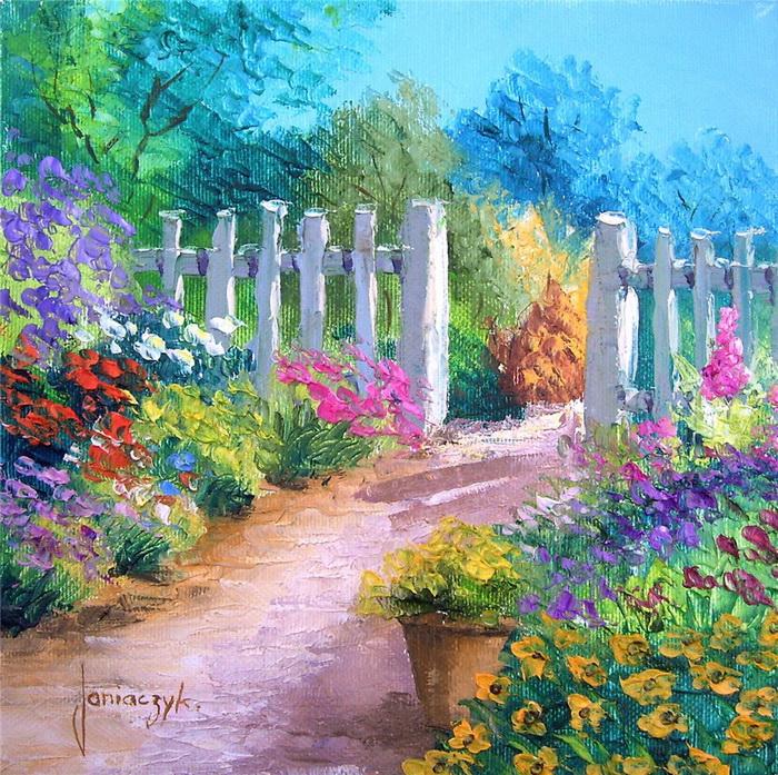 Peinture de jean marc janiaczyk chezmamielucette for Organiser un jardin fleuri