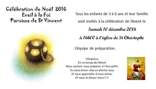 Invitation célébration de Noël le 10 décembre 2016 à St Christophe