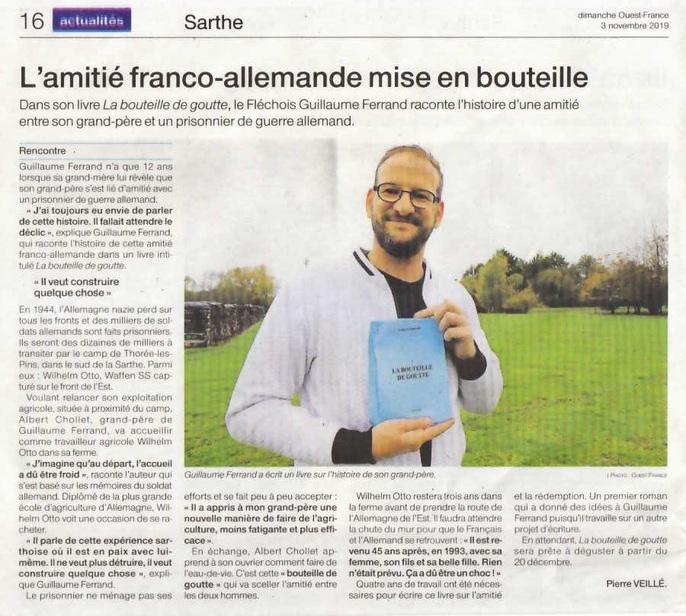 La bouteille de goutte, l'article de Ouest-France