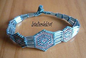Bracelet bleu,gris transparent & gris 2