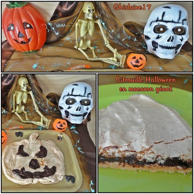 Citrouille Halloween en macaron géant et ganache chocolat