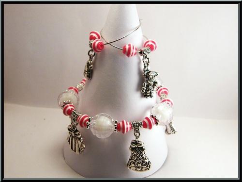 Parure bracelet et boucles breloques de Noël