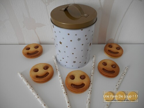 Biscuits smileys fourrés au choco-caramel