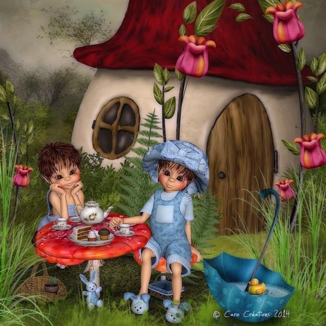 un goûter dans le jardin