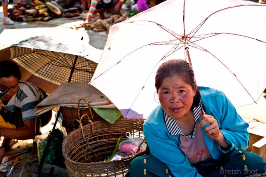 Marché de Luang Namtha : Les ombrelles
