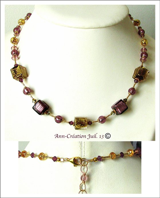 Collier Verre de Murano authentique Prune et Or / Plaqué Or GOld filled