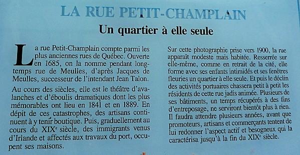 Québec rue Petit Champlain infos