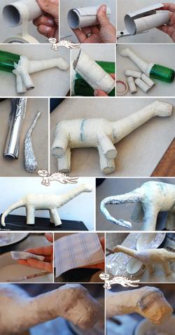 Dinosaure en papier mâché