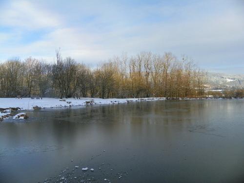 L'étang des Lésines gelé