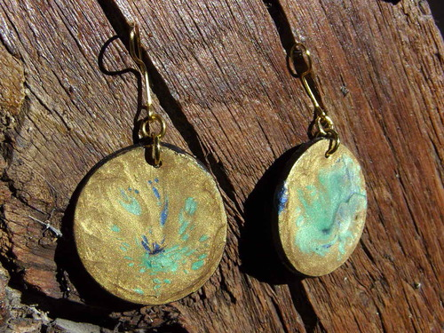 Boucles d'oreilles en pâte fimo peinte
