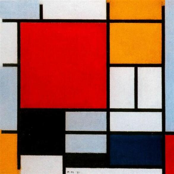 Composition with Large Red Plane, Yellow, Black, Gray and Blue - Piet Mondrian
