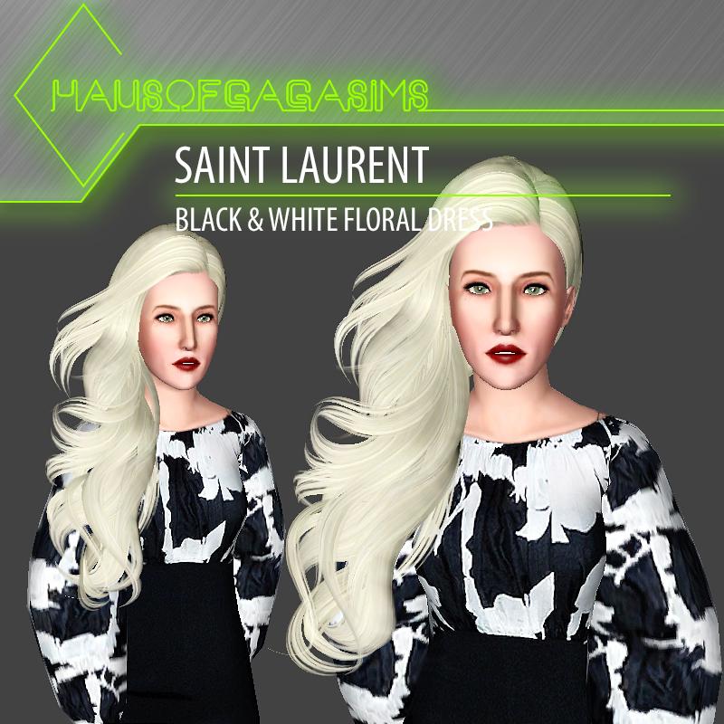 SAINT LAURENT BLACK & WHITE FLORAL DRESS