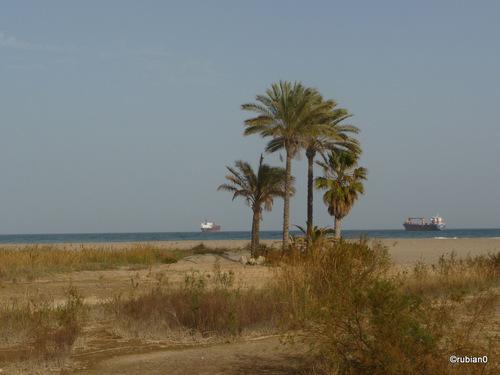 La Plage de Vera Playa, deux cargos attendent devant le port de Garuccha