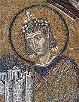 Constantin Ier, mosaïque dans l'église Sainte Sophie à Constantinople