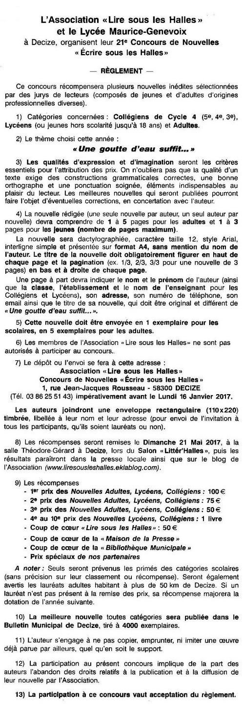 Règlement du 21ème Concours de Nouvelles 2016/2017
