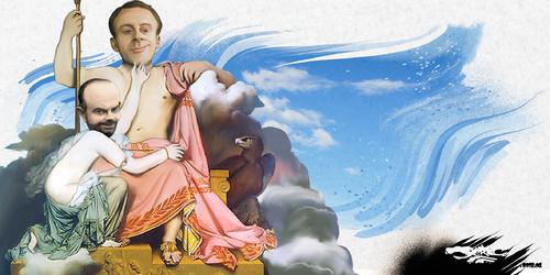 dessin de JERC du mercredi 11 Avril 2018 caricature Emmanuel Macron, Edouard Philippe Les dieux de la grève. www.facebook.com/jercdessin @dessingraffjerc