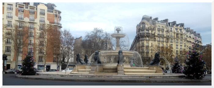Fontaine aux Lions à Daumesnil. Place Félix Eboué. Paris