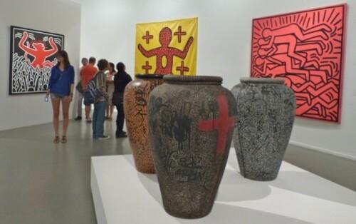 Keith Haring political line 3 vases décorés LA2