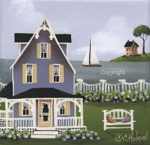 Folk Art Print Hydrangea Cove by catherineholman on Etsy, $14.95