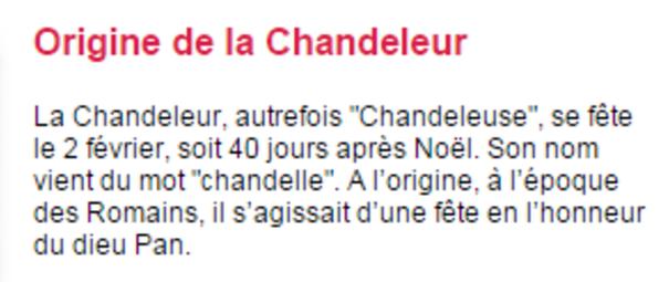 """** NOUS VOICI EN FEVRIER : """" LA CHANDELEUR"""""""